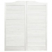 Pinecroft 30 in. x 42 in. Wood White Louvered Cafe Door