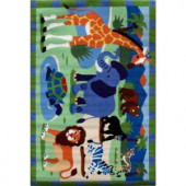 LA Rug Inc. Olive Kids Wild Animals Multi Colored 39 in. x 58 in. Area Rug