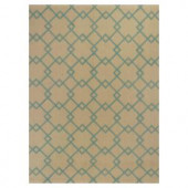 Kas Rugs Eloquent Squares Aqua/Beige 6 ft. 6 in. x 9 ft. 6 in. Area Rug
