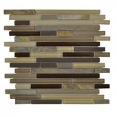 Jeffrey Court Elegant Trail Pencil 12 in. x 12 in. Tan Glass Mosaic Tile