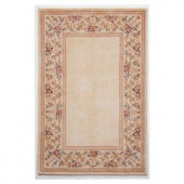 Kas Rugs Lush Floral Border Ivory 8 ft. x 10 ft. 6 in. Area Rug