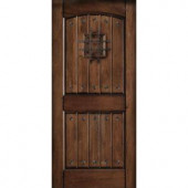 Main Door Rustic Mahogany Type Prefinished Distressed V-Groove Solid Wood Speakeasy Entry Door Slab
