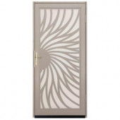 Unique Home Designs Solstice 36 in. x 80 in. Tan Outswing Security Door with Almond Perforated Screen and Satin Nickel Hardware