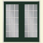 Masonite 72 in. x 80 in. Conifer Right-Hand Inswing 15 Lite GBG Smooth Fiberglass Patio Door with Brickmold