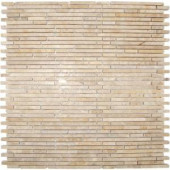 MS International Crema Ivy Bamboo Stone Pattern 12 in. x 12 in. Mosaic Polished Marble Floor and Wall Tile