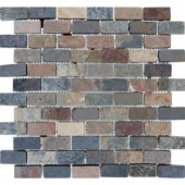 MS International Mixed Slate Brick 12 in. x 12 in. x 10 mm Slate Mesh-Mounted Mosaic Floor and Wall Tile