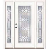 Feather River Doors Mission Pointe Zinc Full Lite Prime Smooth Fiberglass Entry Door with Sidelites