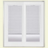 Masonite 60 in. x 80 in. White Steel Prehung Right-Hand Inswing Miniblind Patio Door with Brickmold in Vinyl Frame