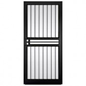 Unique Home Designs Guardian 36 in. x 80 in. Black Outswing Security Door with Shatter-Resistant Glass Inserts