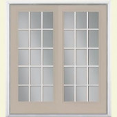 Masonite 72 in. x 80 in. Canyon View Steel Prehung Left-Hand Inswing 15 Lite Patio Door with Brickmold
