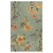 Kas Rugs Tropic Garden Blue/Cream 8 ft. 6 in. x 11 ft. 6 in. Area Rug