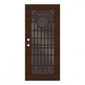 Unique Home Designs Spaniard 36 in. x 80 in. Copper Right-handed Surface Mount Aluminum Security Door with Black Perforated Aluminum Screen