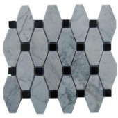 Splashback Tile Artois Pattern White Carrera With Black Dot 12 in. x 12 in. Marble Mosaic Floor and Wall Tile