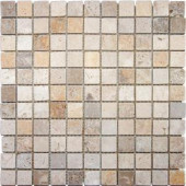 MS International 1 in. x 1 in. Mixed Travertine Mosaic Floor and Wall Tile
