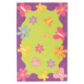 Kas Rugs Spring Fun Lime/Purple 7 ft. 6 in. x 9 ft. 6 in. Area Rug