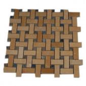 Splashback Tile Basket Braid Jerusalem Gold and Blue Macauba 12 in. x 12 in. Stone Mosaic Floor and Wall Tile