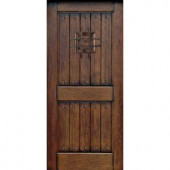 Rustic Mahogany Type Prefinished Distressed V-Groove Solid Wood Speakeasy Entry Door Slab