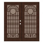 Unique Home Designs Spaniard 60 in. x 80 in. Copper Left-active Surface Mount Aluminum Security Door with Desert Sand Perforated Screen