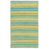 LR Resources Cotton Dhurry Blue and Yellow 8 ft. x 10 ft. Braided Indoor Area Rug