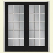 Masonite 72 in. x 80 in. Jet Black French Left-Hand Inswing 15 Lite Smooth Fiberglass Entry Door with No Brickmold