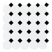 Daltile Matte White with Black Dot 12 in. x 12 in. x 13mm Ceramic Octagon/Dot Mosaic Wall Tile