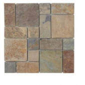 Jeffrey Court Rust Block Medley 12 in. x 12 in. Slate Wall Accent Trim Tile