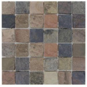 MS International 2 In. x 2 In. Mixed Color Slate Mosaic Floor & Wall Tile