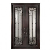Iron Doors Unlimited Armonia Full Lite Painted Oil Rubbed Bronze Decorative Wrought Iron Entry Door