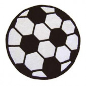 Sams International Soccer Black and White 3 ft. Round Area Rug