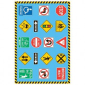 LA Rug Inc. Fun Time Traffic Signs Multi Colored 19 in. x 29 in. Accent Rug
