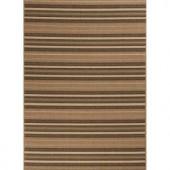 Hampton Bay Green and Brown Stripe 5 ft. 3 in. x 7 ft. 4 in. Indoor Outdoor Area Rug
