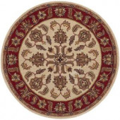 LR Resources Traditional Shape Ivory and Red 7 ft. 9 in. Round Plush Indoor Area Rug