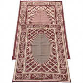 Fireside Patio Mats Country Cabin Coral and Beige 6 ft. x 9 ft. Polypropylene Indoor/Outdoor Reversible Patio/RV Mat