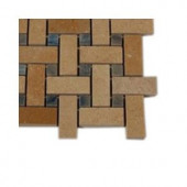 Splashback Tile Basket Braid Jerusalem Gold and Blue Macauba Stone Mosaic Floor and Wall Tile - 6 in. x 6 in. Tile Sample