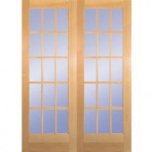 60 in. Wood Clear Pine 15-Lite Prehung French Double Door