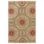 Kas Rugs Mosaic Motif Beige/Red 7 ft. 6 in. x 9 ft. 6 in. Area Rug
