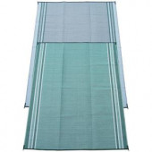 Fireside Patio Mats Mossy Teal Green 9 ft. x 12 ft. Polypropylene Indoor/Outdoor Reversible Patio/RV Mat