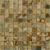 MS International Green Polished Onyx 12 in. x 12 in. Mesh-Mounted Mosaic Tile (10 sq. ft., 10 pieces / case)