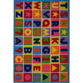 LA Rug Inc. Fun Time Numbers and Letters Multi Colored 5 ft. 3 in. x 7 ft. 6 in. Area Rug