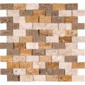 MS International Mixed Travertine 12 in. x 12 in. Splitface Travertine Mesh-Mounted Mosaic Wall Tile