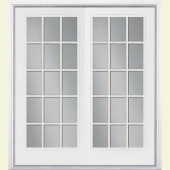 Masonite 60 in. x 80 in. White Steel Prehung Right-Hand Inswing 15 Lite Patio Door with Vinyl Frame with Brickmold