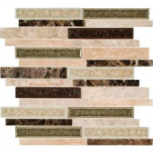 MS International Stonegate Interlocking 12 in. x 12 in. Glass/Stone Blend Mesh-Mounted Mosaic Wall Tile