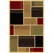 LA Rug Inc. 127/30 Melange Collection, multi-colored, with cream-colored solid outlines, 5 ft. x 8 ft. Indoor Area Rug