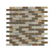 Jeffrey Court Trails End Mini Brick 11.875 in. x 12.75 in. Glass/Slate Mosaic Wall Tile