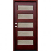 Pacific Entries Contemporary 5 Lite Seedy Stained Wood Mahogany Entry Door