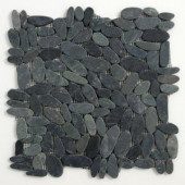 Solistone Kuala Komodo 12 in. x 12 in. Black Pebble Mesh-Mounted Mosaic Tile
