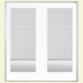 Masonite 72 in. x 80 in. Pure White Prehung Right-Hand Inswing Miniblind Fiberglass Patio Door with Brickmold in Vinyl Frame
