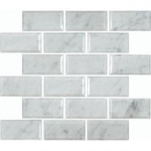 MS International Greecian White 12 in. x 12 in. Polished Beveled Marble Mesh-Mounted Mosaic Floor and Wall Tile