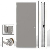 L.I.F Industries 36 in. x 80 in. Flush Gray Entrance Right-Hand Fire Proof Door Unit with Knockdown Frame