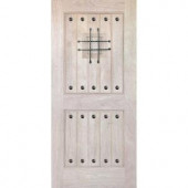 Rustic Mahogany Type Unfinished Solid Wood V-Groove Speakeasy Entry Door Slab